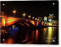 Blackfriars Bridge Illuminated In Orange Acrylic Print