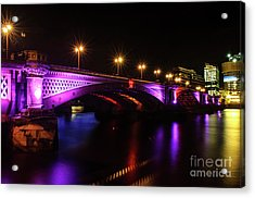 Blackfriars Bridge Illuminated In Purple Acrylic Print
