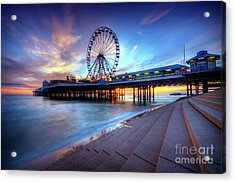 Acrylic Print featuring the photograph Blackpool Pier Sunset by Yhun Suarez