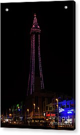Blackpool Tower Pink Acrylic Print by Steev Stamford
