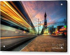 Acrylic Print featuring the photograph Blackpool Tram Light Trail by Yhun Suarez