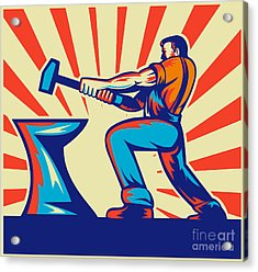 Blacksmith Worker With Hammer Acrylic Print by Aloysius Patrimonio