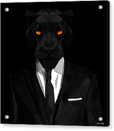 Blacl Panther Acrylic Print by Gallini Design