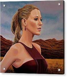 Blake Lively Painting Acrylic Print by Paul Meijering