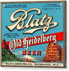 Blatz Old Heidelberg Vintage Beer Label Restored Acrylic Print