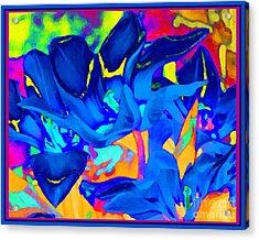 Acrylic Print featuring the digital art Blaue Tulpen by Loko Suederdiek