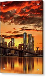 Blazing Manhattan Skyline Acrylic Print by Az Jackson