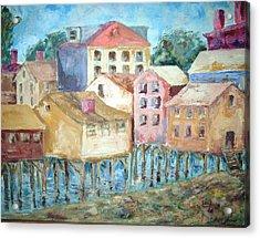 Bldgs In Boothbay Harbor Acrylic Print by Joseph Sandora Jr