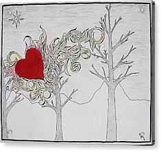 Acrylic Print featuring the drawing Bleeding Heart by Daryl Chakravarthy