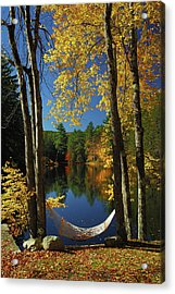 Bliss - New England Fall Landscape Hammock Acrylic Print by Jon Holiday