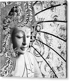 Acrylic Print featuring the digital art Bliss Of Being - Black And White Buddha Art by Christopher Beikmann