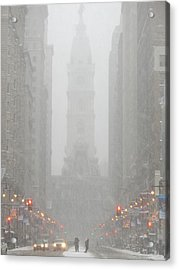 Snow In The City Acrylic Print