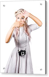 Blond Woman Framing Picture Acrylic Print