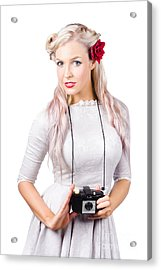 Blond Woman With Camera Acrylic Print