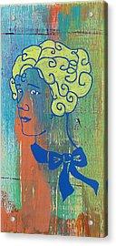 Blonde Girl Blue Acrylic Print by Desiree Warren