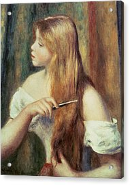 Blonde Girl Combing Her Hair Acrylic Print by Pierre Auguste Renoir