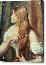 Blonde Girl Combing Her Hair Acrylic Print by Pierre Auguste Renoir