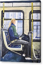 Blonde Girl On 107 Bus Montreal Acrylic Print by Reb Frost