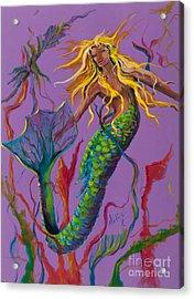 Blonde Mermaid Acrylic Print by Mary DuCharme