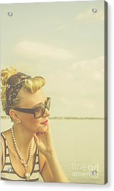 Blonde Pin Up Girl With Nostalgia Acrylic Print