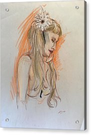Blonde With White Flower Acrylic Print by Alejandro Lopez-Tasso