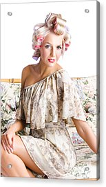 Blonde Woman In Curlers Acrylic Print by Jorgo Photography - Wall Art Gallery
