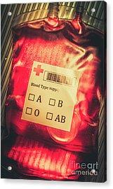 Blood Donation Bag Acrylic Print
