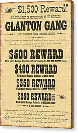 Blood Meridian Wanted Poster Acrylic Print by B Easton