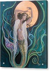 Blood Moon Goddess  Acrylic Print by Angel Fritz