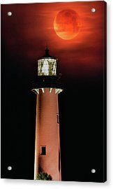 Blood Moon Rising Over Jupiter Lighthouse In Florida Acrylic Print