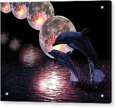 Dolphins In The Moonlight Acrylic Print
