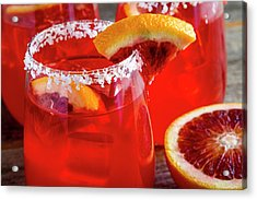 Acrylic Print featuring the photograph Blood Orange Margaritas On The Rocks by Teri Virbickis