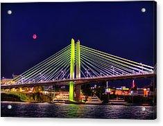Blood Red Moon Over Tilikum Crossing Acrylic Print