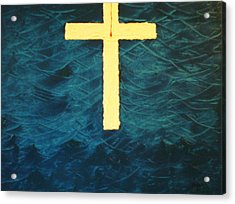 Blood Stained Cross Acrylic Print by Barbara Hayes