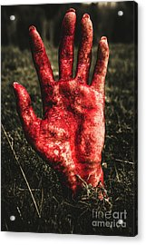 Blood Stained Hand Coming Out Of The Ground At Night Acrylic Print