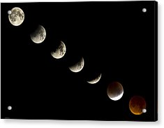 Bloodmoon Lunar Eclipse With  Phases Composite Acrylic Print