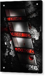 Bloody Knife Wrapped In Red Crime Scene Ribbon Acrylic Print