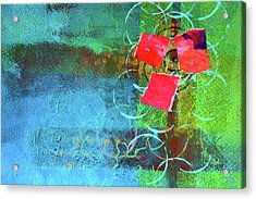 Acrylic Print featuring the mixed media Bloom Abstract Collage by Nancy Merkle
