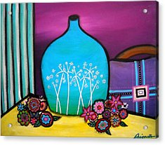 Acrylic Print featuring the painting Bloom And Vase by Pristine Cartera Turkus
