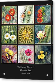 Acrylic Print featuring the painting Blooming Cactus by Marilyn Smith