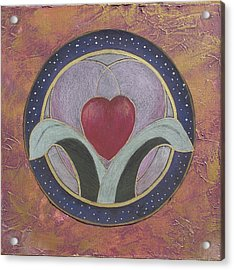 Blooming Heart Mandala Acrylic Print by Jo Thompson