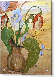 Blooming Orchids In The Vase Acrylic Print by Mila Ryk