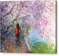 Blossom Alley Impressionistic Painting Acrylic Print by Svetlana Novikova