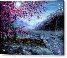 Blossom Falls Acrylic Print by Ann Marie Bone
