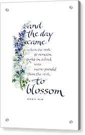 Blossom I Acrylic Print by Judy Dodds
