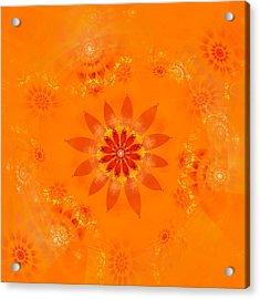 Acrylic Print featuring the digital art Blossom In Orange by Richard Ortolano