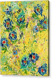 Acrylic Print featuring the painting Blossoming Blue by Chris Rice
