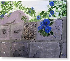 Acrylic Print featuring the painting Blossoms Along The Wall by Linda Feinberg