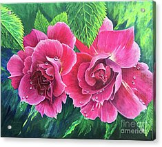 Acrylic Print featuring the painting Blossom Buddies by Nancy Cupp