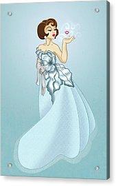 Blow A Kiss- Blue Version Acrylic Print by Rachel Marquez